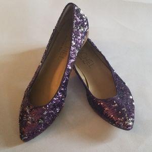 Rachel Roy Purple Silver Sequined Flats 7.5
